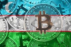 Stack of Bitcoin Uzbekistan flag. Bitcoin cryptocurrencies concept. BTC background. royalty free stock photography