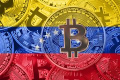 Stack of Bitcoin Venezuela flag. Bitcoin cryptocurrencies concept. BTC background. stock photo