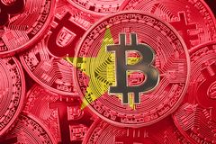 Stack of Bitcoin Vietnam flag. Bitcoin cryptocurrencies concept. stock image