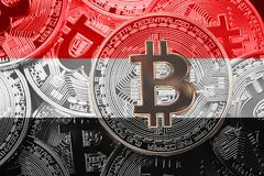 Stack of Bitcoin Yemen flag. Bitcoin cryptocurrencies concept. B royalty free stock image