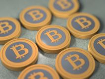 Stack of Bitcoins Royalty Free Stock Photography