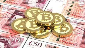Stack of bitcoins with British pound bills. Royalty Free Stock Images