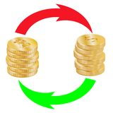 A stack of bitcoins and a stack of dollar coins are exchanged arrows vector illustration