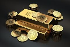 Stack of Bitcoins and gold ingots bullion bar. Cryptocurrencies as a future gold most precious commodity in the world. 3D rendering Stock Image