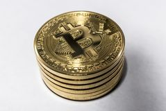Stack of bitcoins royalty free stock image