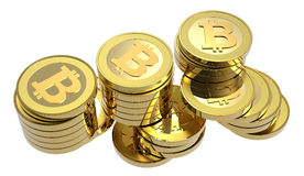 Stack of bitcoins isolated on white. Royalty Free Stock Image