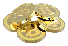 Stack of bitcoins isolated on white. Stock Image