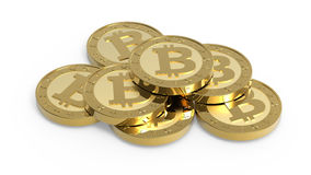 Stack of bitcoins isolated on white Stock Photo