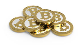 Stack of bitcoins isolated on white Stock Image
