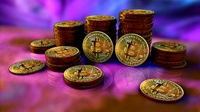 Stack of bitcoins with purple with a two coins facing the camera. In sharp focus. Defocused background Royalty Free Stock Photography