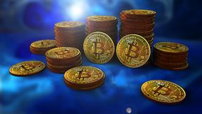 Stack of bitcoins with purple with a two coins facing the camera. In sharp focus. Defocused background Stock Photography