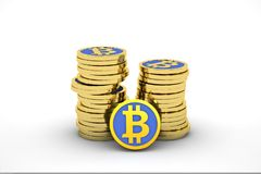 Stack of bitcoins Royalty Free Stock Images