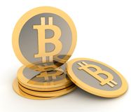 Stack of bitcoins  on white Stock Photography