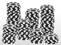 Stack black chips Royalty Free Stock Image