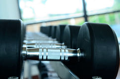 Stack of black dumbbells Stock Photography