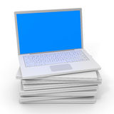 Stack of black laptops. Stock Images
