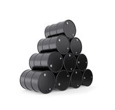 Stack of black oil barrels Stock Photography