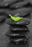 Stack of black pebbles Stock Photo