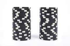 Stack of a black poker chips Royalty Free Stock Photos