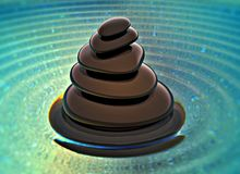 Stack of black stones on water stock illustration