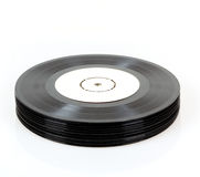 Stack of black vinyl records Royalty Free Stock Photos