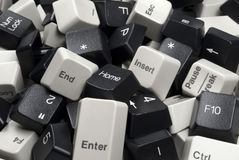 Stack of Black and White Computer Keyboard Keys. Close-up on Pile of Black and White Computer Keyboard Keys Stock Images