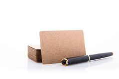 Stack of blank business card on white background. Royalty Free Stock Image