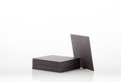 Stack of blank business card on white background. Stock Photo