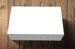 Stack of blank name cards. On wooden background Stock Photography