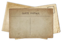 Stack of blank old vintage postcard isolated Stock Photography