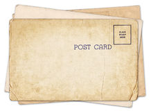 Stack of blank old vintage postcard isolated Royalty Free Stock Images