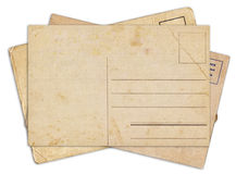 Stack of blank old vintage postcard isolated Royalty Free Stock Photography