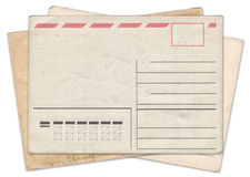 Stack of blank old vintage postcard isolated Stock Photos