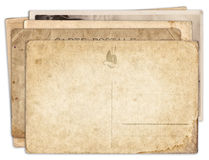 Stack of blank old vintage postcard isolated Royalty Free Stock Photo