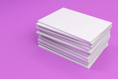 Stack of blank white closed brochure mock-up on violet background. Magazine cover template. 3D rendering illustration Stock Images