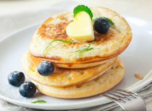 Stack of blinis or pancakes with blueberries Royalty Free Stock Photo