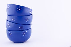 Stack of blue bowls Royalty Free Stock Photo