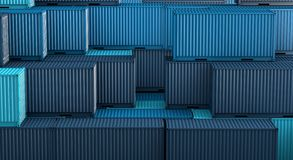 Stack of blue containers box, Cargo freight ship for import export 3D. Stack of blue containers box, Cargo freight ship for import export logistics 3D rendering stock illustration