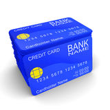 A stack of blue credit cards Royalty Free Stock Photography