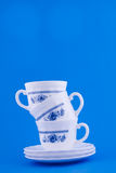 Stack of blue cups Royalty Free Stock Photography