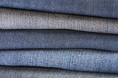 Stack of blue denim Stock Photography