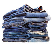 Stack of blue denim clothes Stock Photography