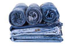 Stack of blue denim jeans Royalty Free Stock Photos