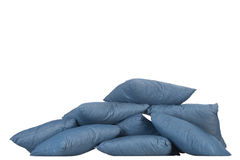 Stack of blue denim pillows Royalty Free Stock Photos