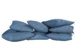 Stack of blue denim pillows Stock Image
