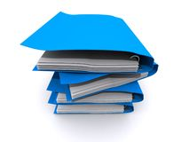 Stack of blue files Stock Image