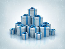 Stack of blue gift boxes high quality 3d render Royalty Free Stock Photos