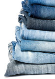Stack of blue jeans Royalty Free Stock Photo