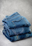 Stack of blue jeans Stock Photography