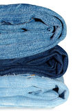 Stack of blue jeans outerwear. Royalty Free Stock Photo